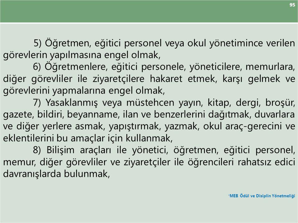 95 5) Öğretmen, eğitici personel veya okul yönetimince verilen görevlerin yapılmasına engel olmak,