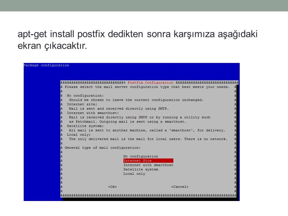 apt-get install postfix dedikten sonra karşımıza aşağıdaki ekran çıkacaktır.