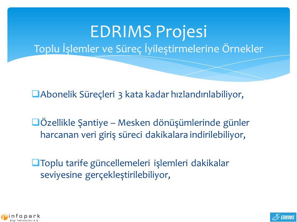 EDRIMS Projesi Toplu İşlemler ve Süreç İyileştirmelerine Örnekler