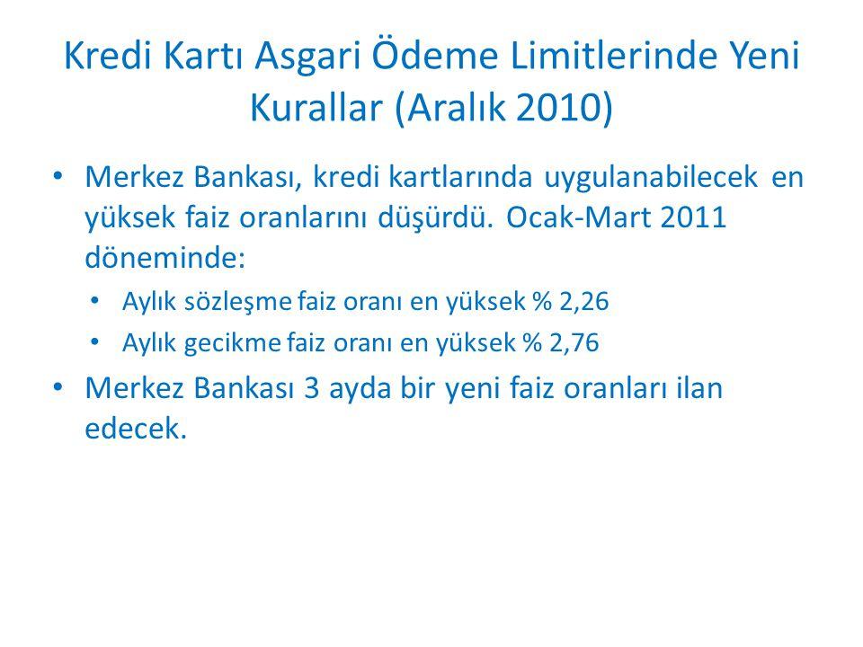 Kredi Kartı Asgari Ödeme Limitlerinde Yeni Kurallar (Aralık 2010)
