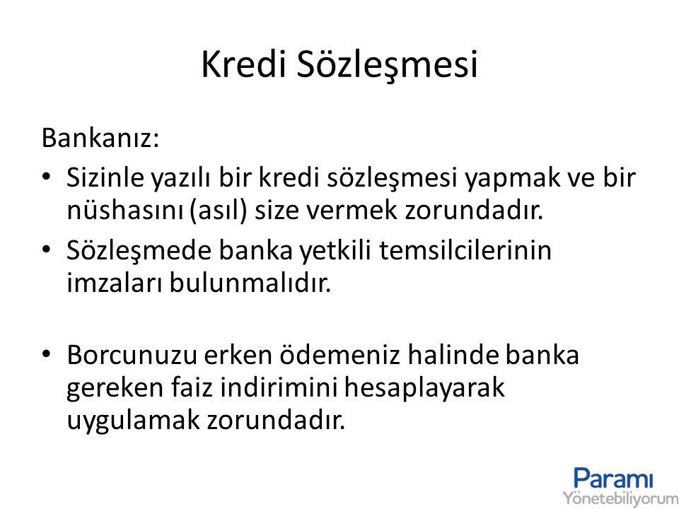 Kredi Sözleşmesi Bankanız: