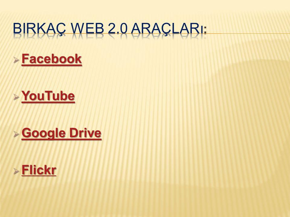 Birkaç Web 2.0 Araçları: Facebook YouTube Google Drive Flickr
