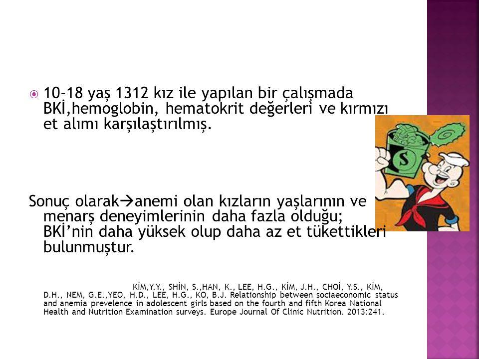 10-18 yaş 1312 kız ile yapılan bir çalışmada BKİ,hemoglobin, hematokrit değerleri ve kırmızı et alımı karşılaştırılmış.