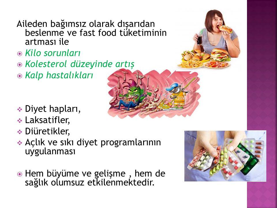 Aileden bağımsız olarak dışarıdan beslenme ve fast food tüketiminin artması ile