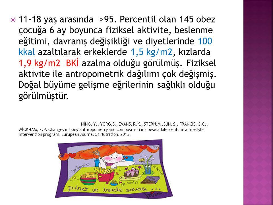 11-18 yaş arasında >95. Percentil olan 145 obez çocuğa 6 ay boyunca fiziksel aktivite, beslenme eğitimi, davranış değişikliği ve diyetlerinde 100 kkal azaltılarak erkeklerde 1,5 kg/m2, kızlarda 1,9 kg/m2 BKİ azalma olduğu görülmüş. Fiziksel aktivite ile antropometrik dağılımı çok değişmiş. Doğal büyüme gelişme eğrilerinin sağlıklı olduğu görülmüştür.