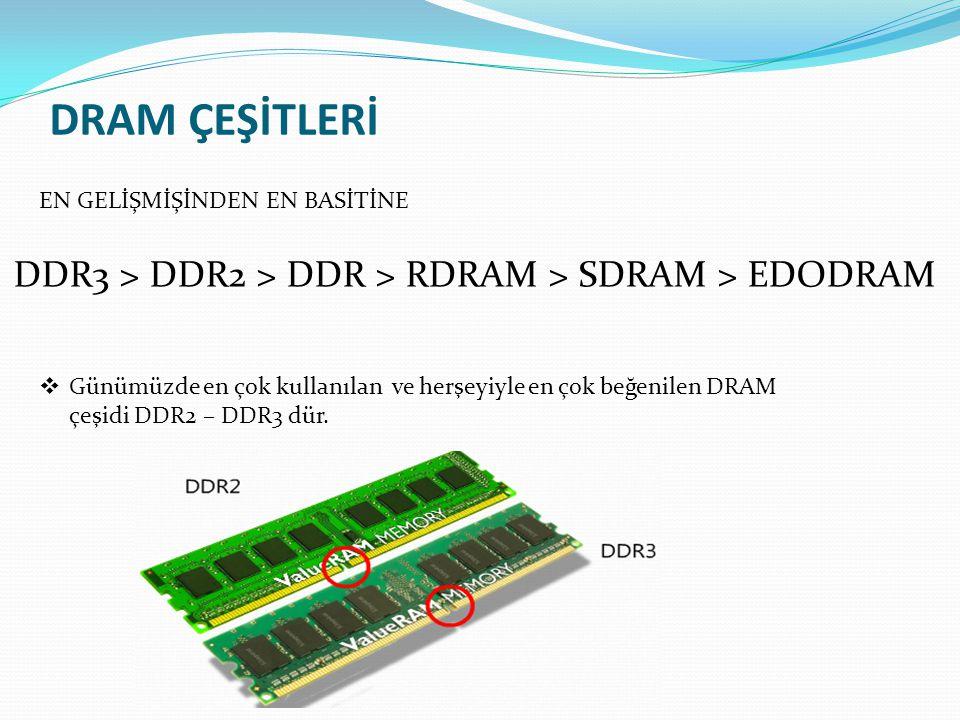 DRAM ÇEŞİTLERİ EN GELİŞMİŞİNDEN EN BASİTİNE. DDR3 > DDR2 > DDR > RDRAM > SDRAM > EDODRAM.