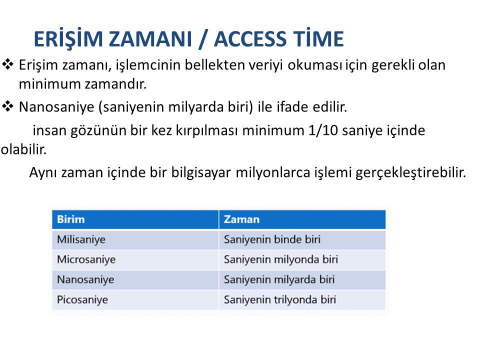 ERİŞİM ZAMANI / ACCESS TİME