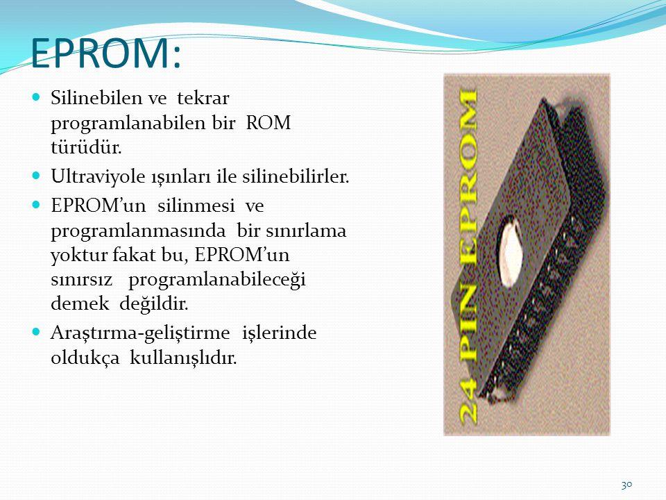 EPROM: Silinebilen ve tekrar programlanabilen bir ROM türüdür.