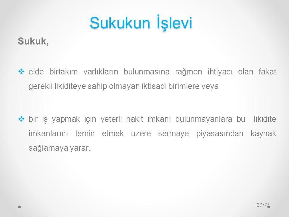 Sukukun İşlevi Sukuk, elde birtakım varlıkların bulunmasına rağmen ihtiyacı olan fakat gerekli likiditeye sahip olmayan iktisadi birimlere veya.
