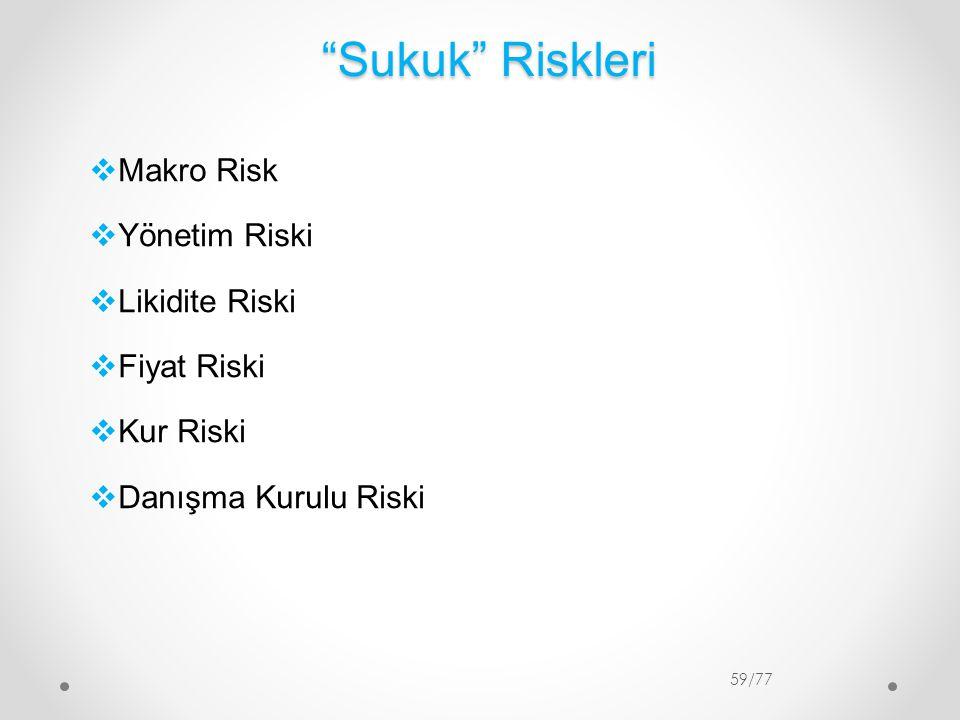 Sukuk Riskleri Makro Risk Yönetim Riski Likidite Riski Fiyat Riski