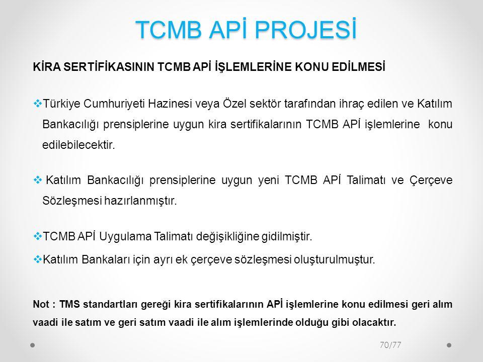 TCMB APİ PROJESİ KİRA SERTİFİKASININ TCMB APİ İŞLEMLERİNE KONU EDİLMESİ.