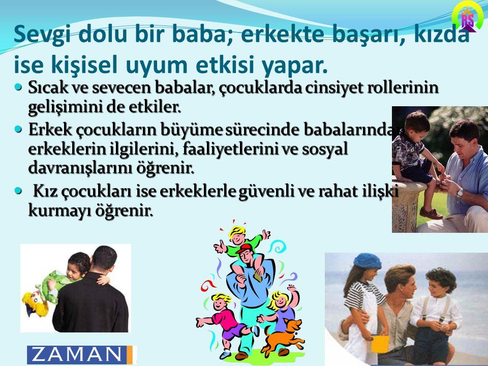 Sevgi dolu bir baba; erkekte başarı, kızda ise kişisel uyum etkisi yapar.