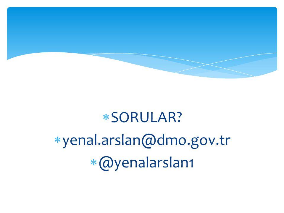 SORULAR yenal.arslan@dmo.gov.tr @yenalarslan1
