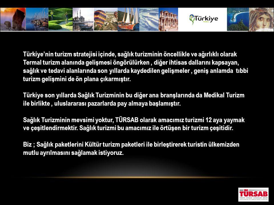 Türkiye'nin turizm stratejisi içinde, sağlık turizminin öncellikle ve ağırlıklı olarak Termal turizm alanında gelişmesi öngörülürken , diğer ihtisas dallarını kapsayan, sağlık ve tedavi alanlarında son yıllarda kaydedilen gelişmeler , geniş anlamda tıbbi turizm gelişmini de ön plana çıkarmıştır.