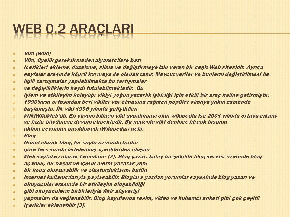 Web 0.2 araçlarI Viki (Wiki)