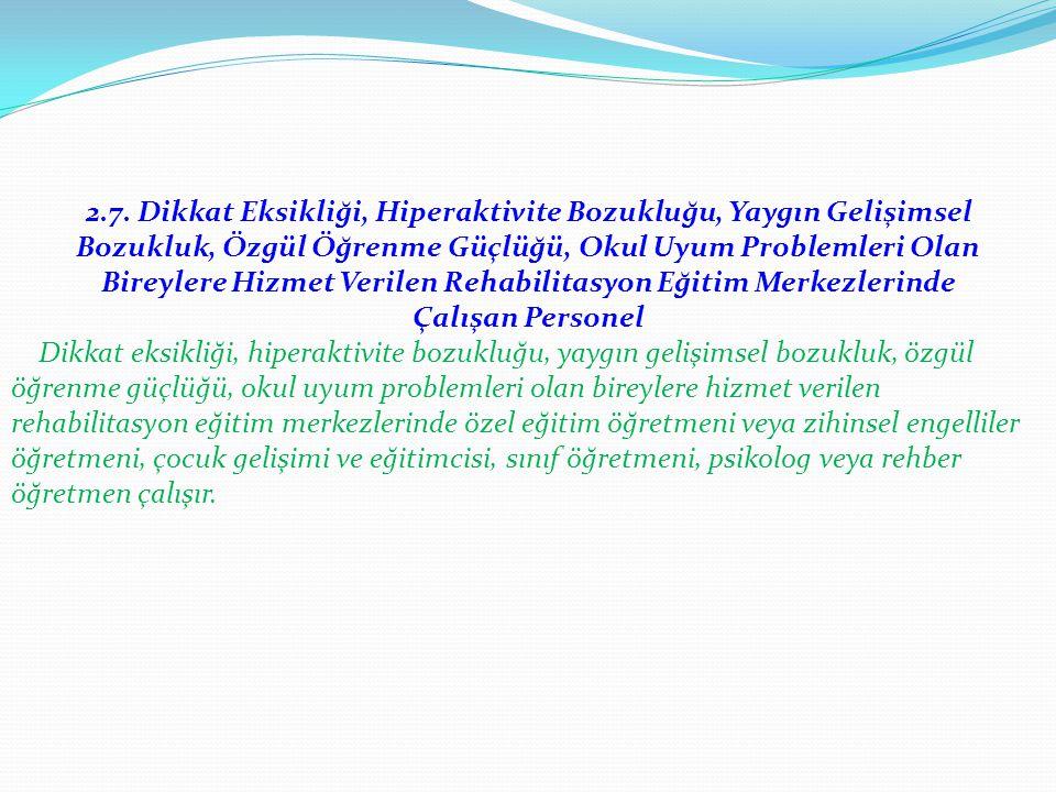 2.7. Dikkat Eksikliği, Hiperaktivite Bozukluğu, Yaygın Gelişimsel