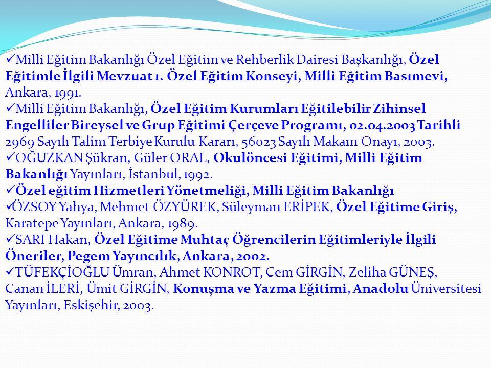 Milli Eğitim Bakanlığı Özel Eğitim ve Rehberlik Dairesi Başkanlığı, Özel