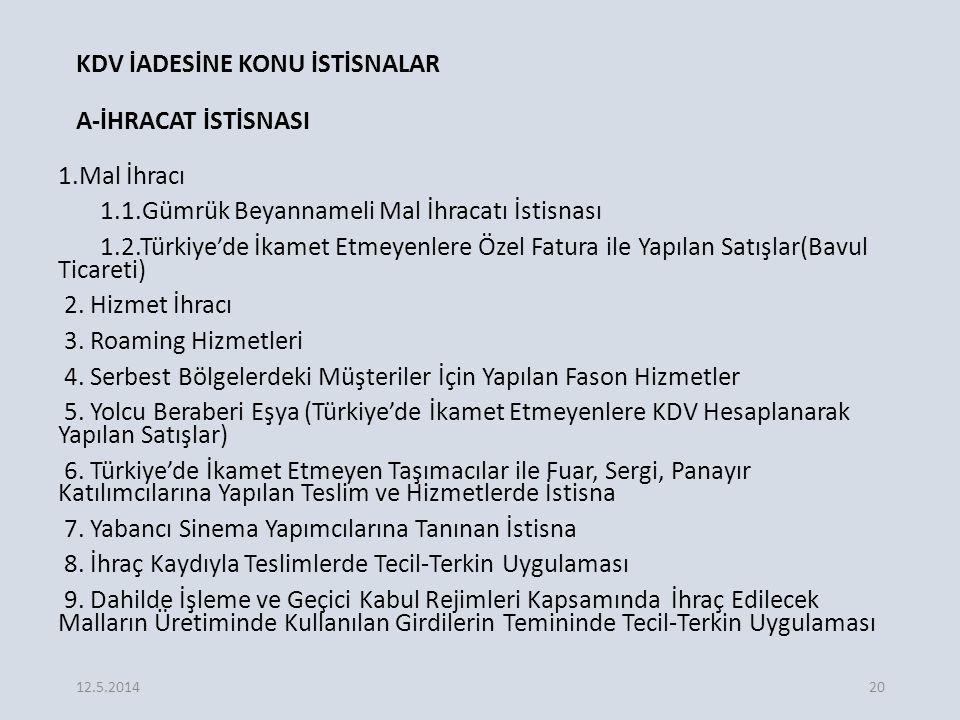 KDV İADESİNE KONU İSTİSNALAR A-İHRACAT İSTİSNASI