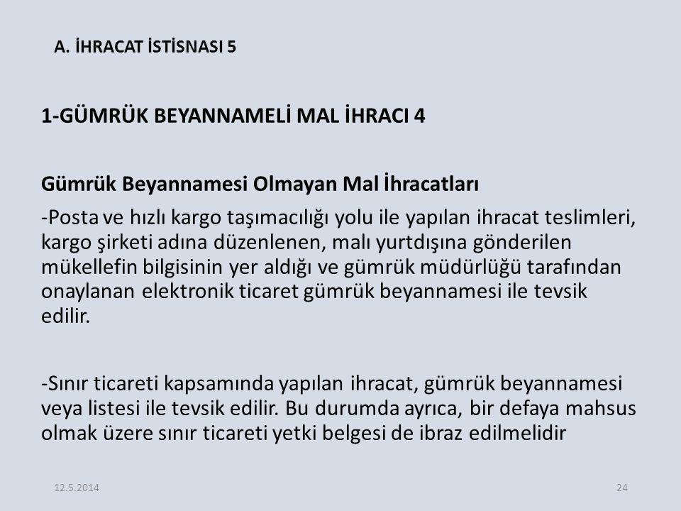 A. İHRACAT İSTİSNASI 5