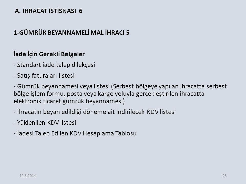 A. İHRACAT İSTİSNASI 6