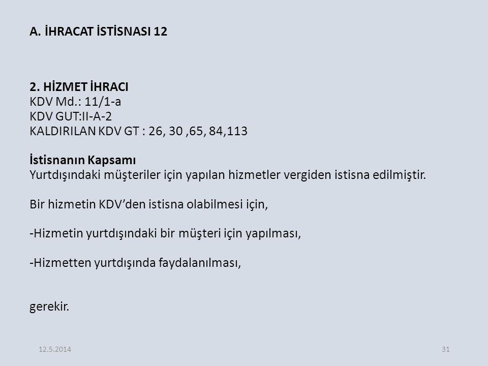 A. İHRACAT İSTİSNASI 12