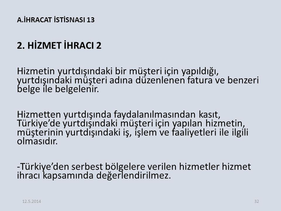 A.İHRACAT İSTİSNASI 13