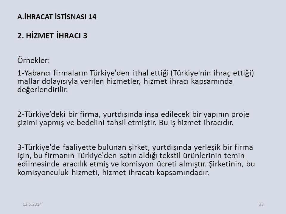 A.İHRACAT İSTİSNASI 14