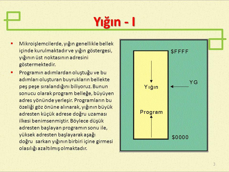 Yığın - I Mikroişlemcilerde, yığın genellikle bellek içinde kurulmaktadır ve yığın göstergesi, yığının üst noktasının adresini göstermektedir.