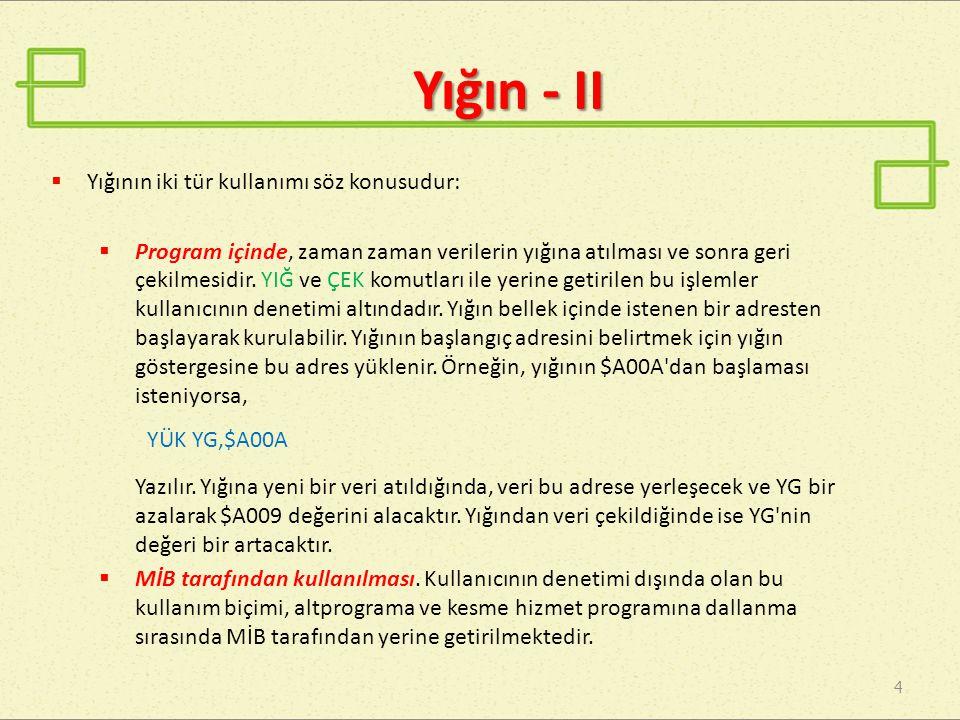 Yığın - II Yığının iki tür kullanımı söz konusudur: