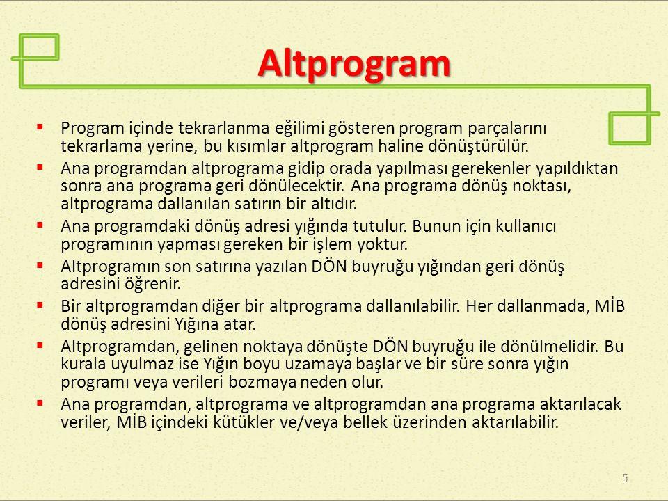 Altprogram Program içinde tekrarlanma eğilimi gösteren program parçalarını tekrarlama yerine, bu kısımlar altprogram haline dönüştürülür.