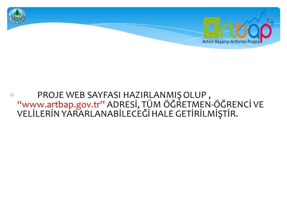 PROJE WEB SAYFASI HAZIRLANMIŞ OLUP , www. artbap. gov