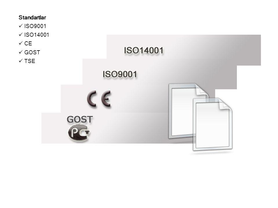 Standartlar ISO9001 ISO14001 CE GOST TSE 18