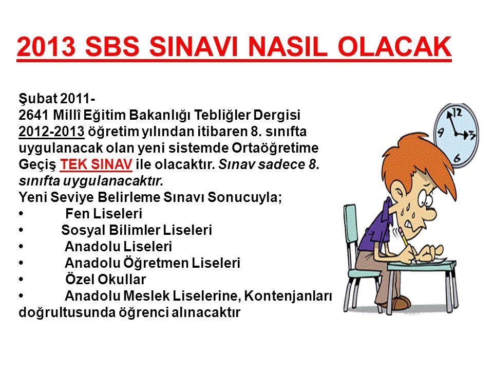 2013 SBS SINAVI NASIL OLACAK