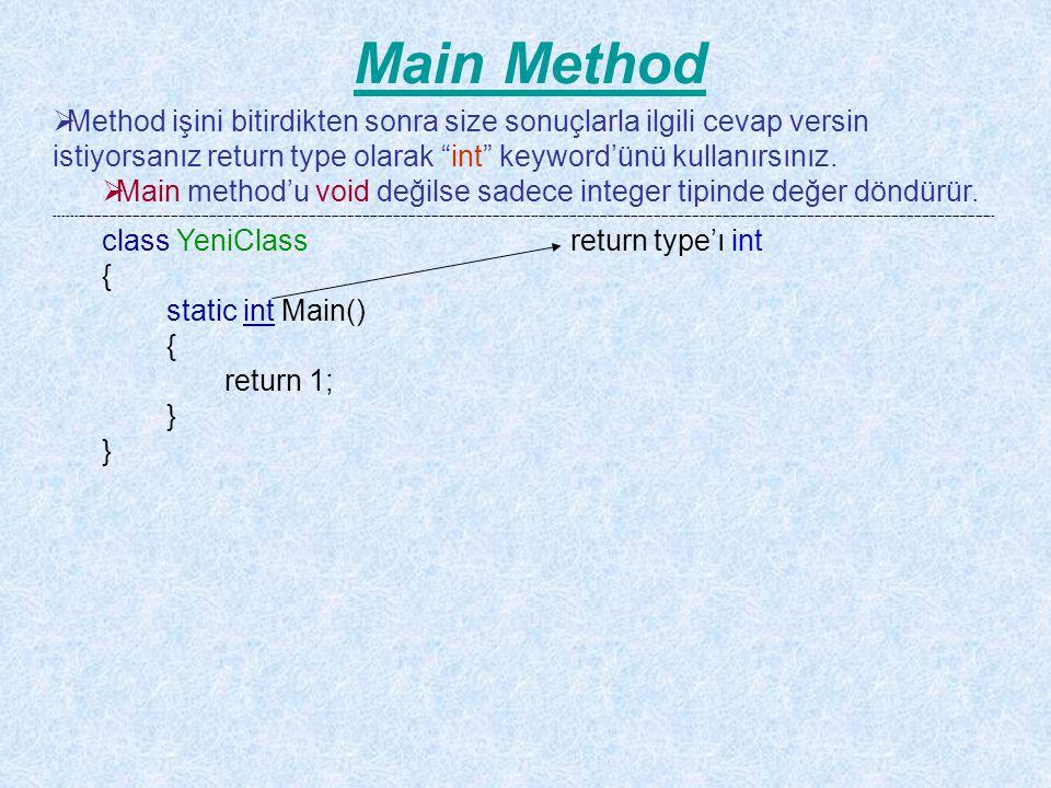 Main Method Method işini bitirdikten sonra size sonuçlarla ilgili cevap versin istiyorsanız return type olarak int keyword'ünü kullanırsınız.