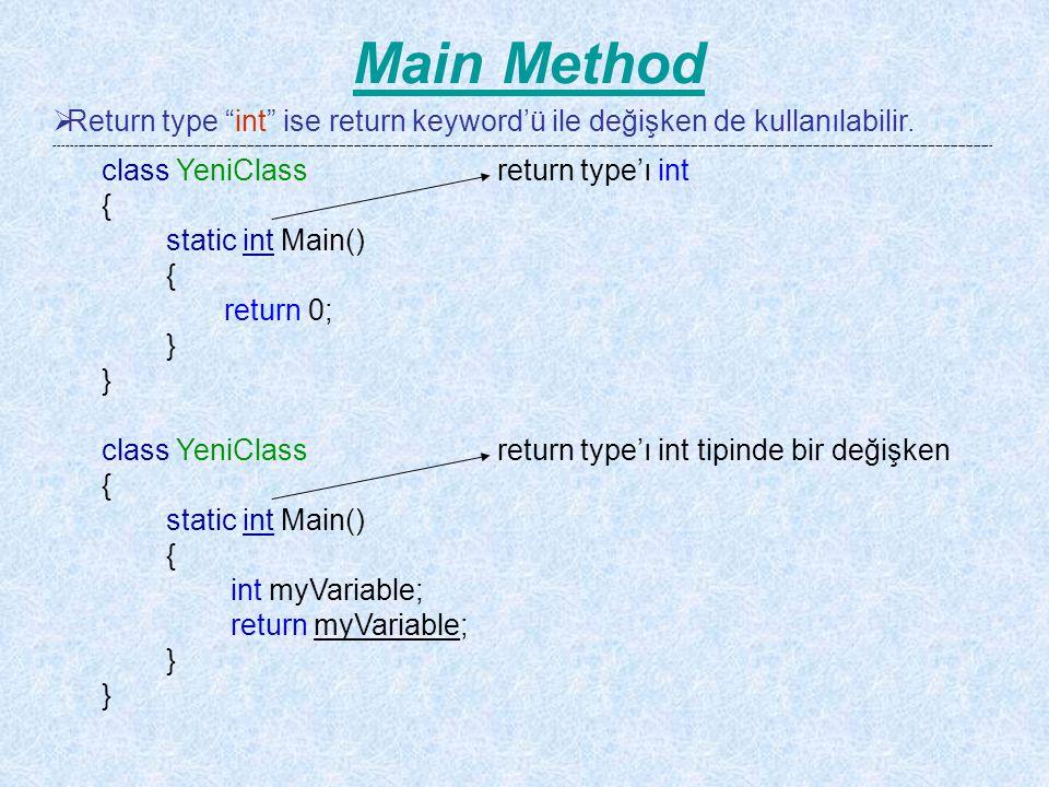 Main Method Return type int ise return keyword'ü ile değişken de kullanılabilir.
