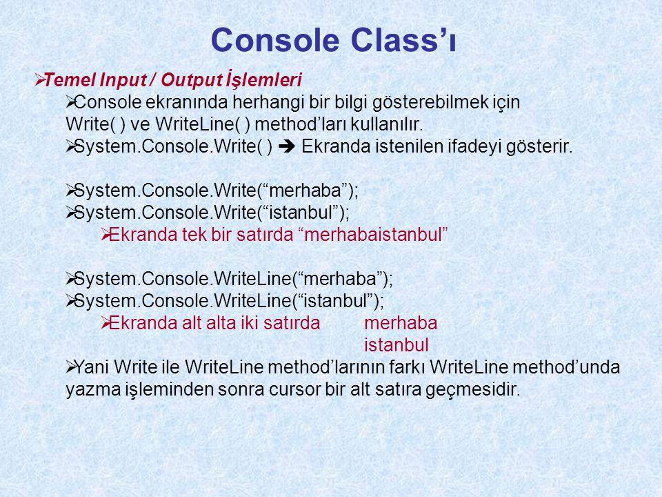 Console Class'ı Temel Input / Output İşlemleri
