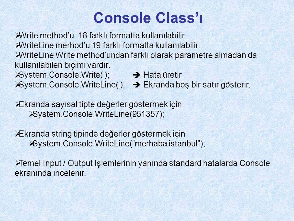 Console Class'ı Write method'u 18 farklı formatta kullanılabilir.
