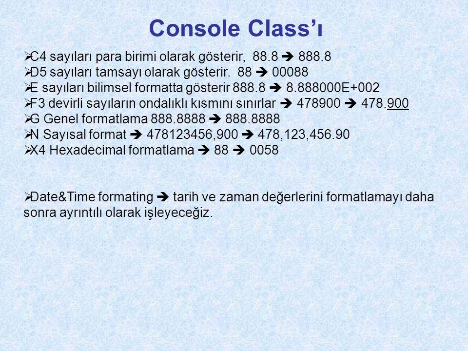 Console Class'ı C4 sayıları para birimi olarak gösterir, 88.8  888.8