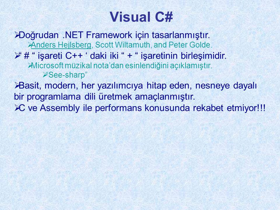 Visual C# Doğrudan .NET Framework için tasarlanmıştır.