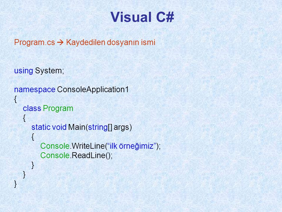 Visual C# Program.cs  Kaydedilen dosyanın ismi using System;