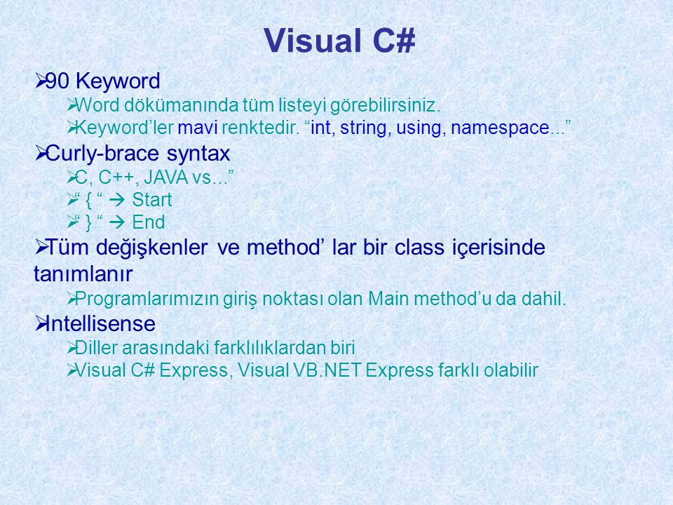 Visual C# 90 Keyword Curly-brace syntax