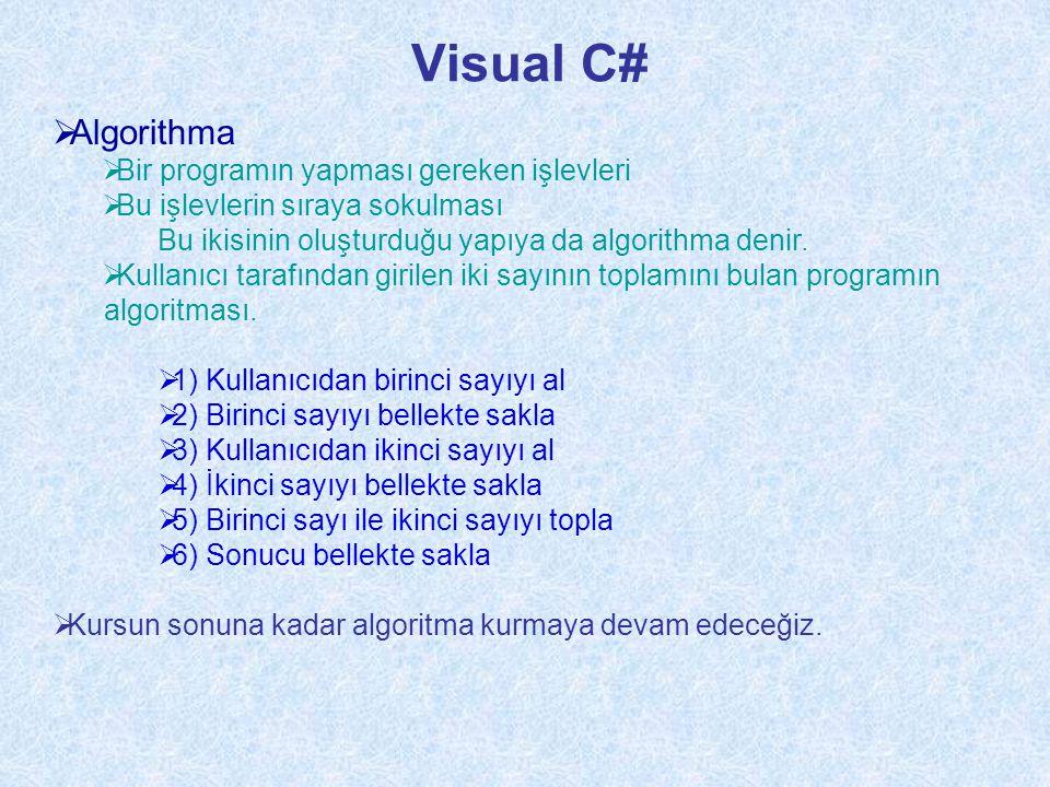 Visual C# Algorithma Bir programın yapması gereken işlevleri