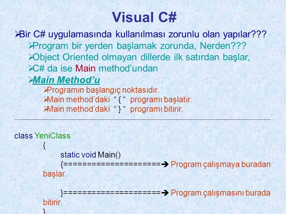 Visual C# Bir C# uygulamasında kullanılması zorunlu olan yapılar