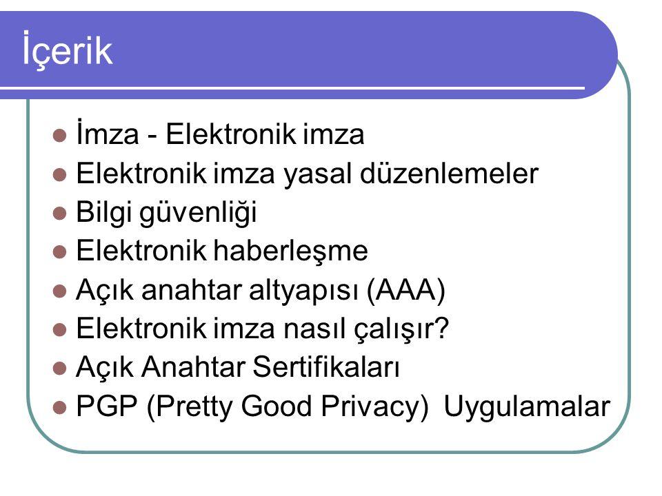 İçerik İmza - Elektronik imza Elektronik imza yasal düzenlemeler