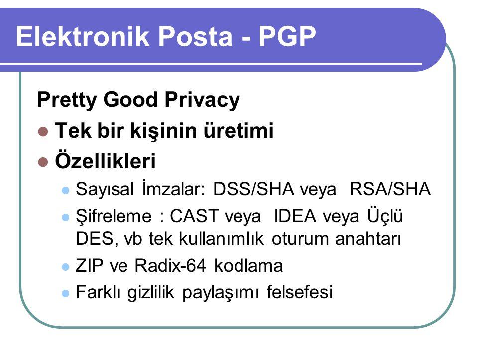 Elektronik Posta - PGP Pretty Good Privacy Tek bir kişinin üretimi