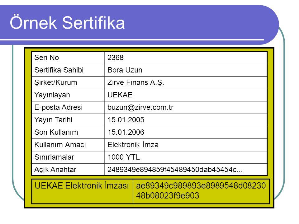 Örnek Sertifika UEKAE Elektronik İmzası