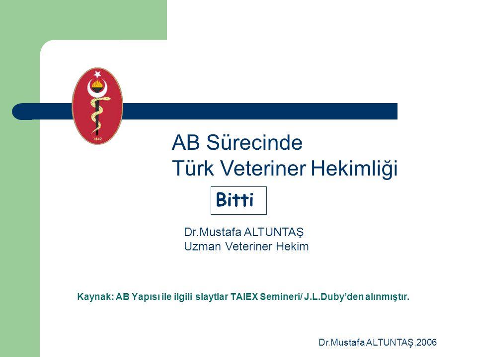 AB Sürecinde Türk Veteriner Hekimliği