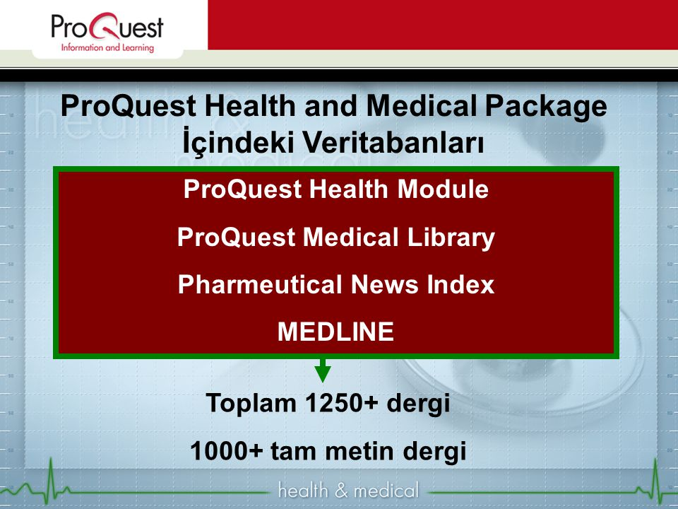 ProQuest Health and Medical Package İçindeki Veritabanları