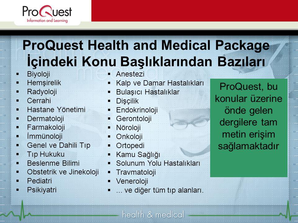 ProQuest Health and Medical Package İçindeki Konu Başlıklarından Bazıları