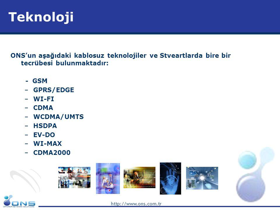 Teknoloji ONS'un aşağıdaki kablosuz teknolojiler ve Stveartlarda bire bir tecrübesi bulunmaktadır: